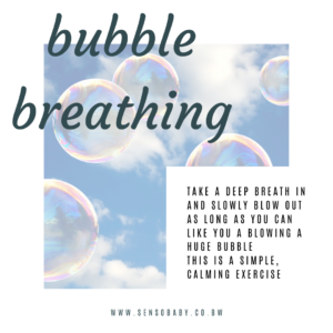 Bubble breathing to calm down kids