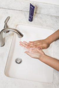 yoga breathing exercises while washing hands